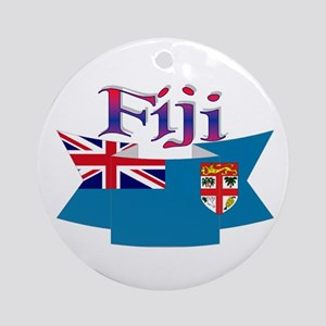 Fiji flag ribbon Ornament (Round)