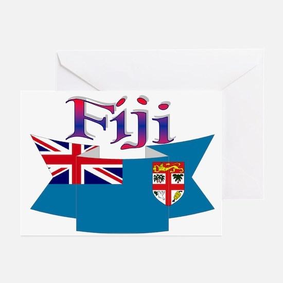 Fiji flag ribbon Greeting Cards (Pk of 10)