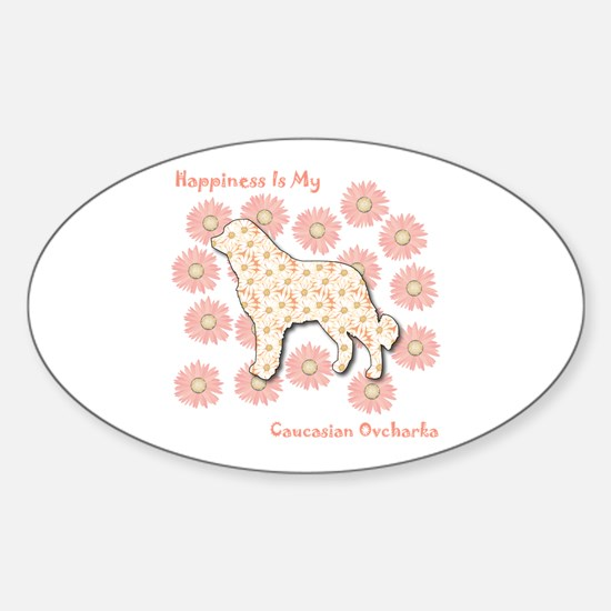 Caucasian Happiness Oval Decal
