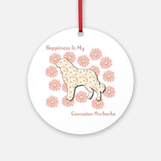 Caucasian Happiness Ornament (Round)