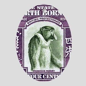 1939 North Borneo Proboscis Monkey P Oval Ornament