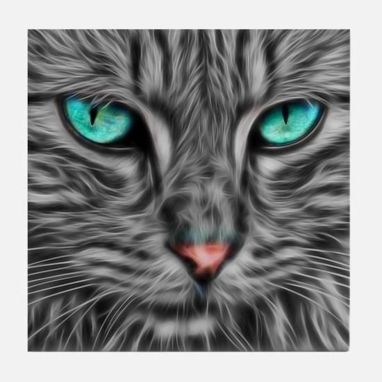 Fractal grey cat illustration Tile Coaster