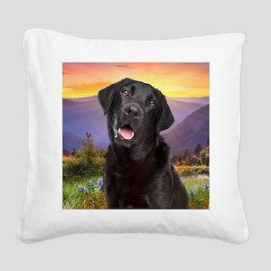 Labrador Meadow (button) Square Canvas Pillow