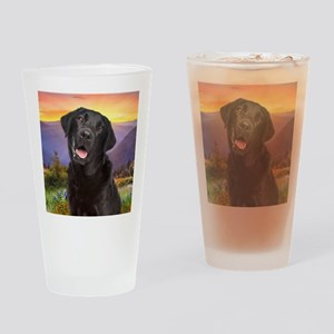 Labrador Meadow (button) Drinking Glass