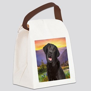 Labrador Meadow (button) Canvas Lunch Bag