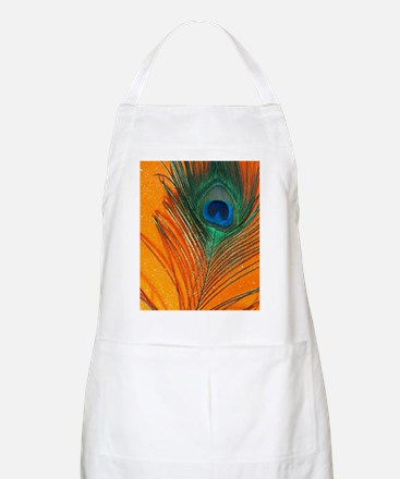 Glitter Orange Peacock Feather Still life Apron
