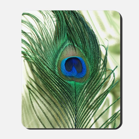 Green Apple Peacock Feather Mousepad