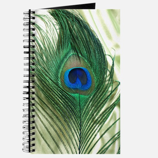 Green Apple Peacock Feather Journal