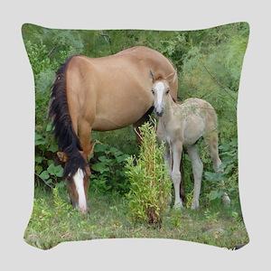 Mare  Foal Woven Throw Pillow