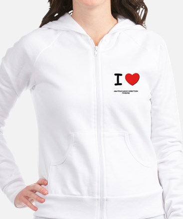 I love amateur radio direction finding Fitted Hoodie