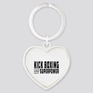 Kick Boxing Is My Superpower Heart Keychain