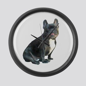 French Bulldog (blk)1 Large Wall Clock