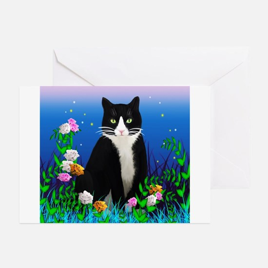 Tuxedo Cat among the Flowers Greeting Cards