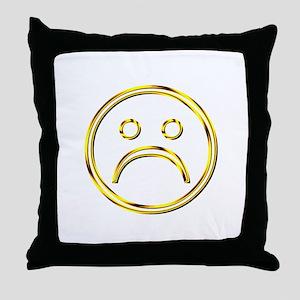 Gold Frown Face Throw Pillow