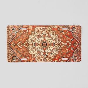 Antique Floral Persian Rug Aluminum License Plate