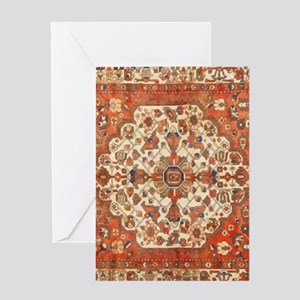 Antique Floral Persian Rug Greeting Cards
