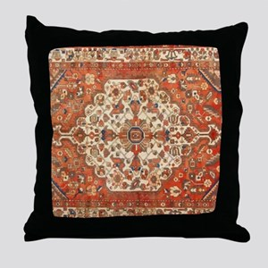 Antique Floral Persian Rug Throw Pillow