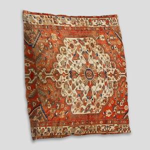 Antique Floral Persian Rug Burlap Throw Pillow