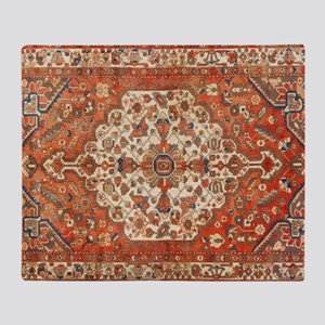 Antique Floral Persian Rug Throw Blanket