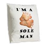 Sole Man Burlap Throw Pillow