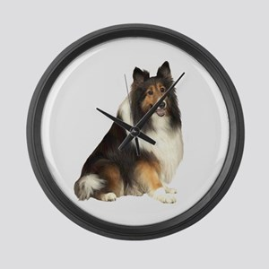 Collie (dark sable) Large Wall Clock