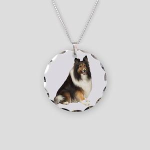 Collie (dark sable) Necklace Circle Charm