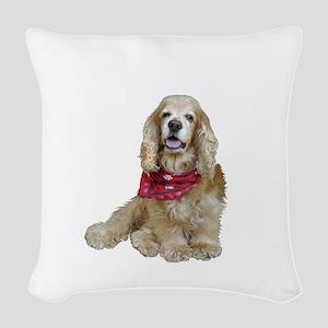Cocker (buff-w/scarf) Woven Throw Pillow