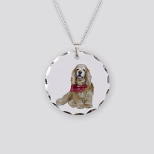 Cocker (buff-w/scarf) Necklace Circle Charm