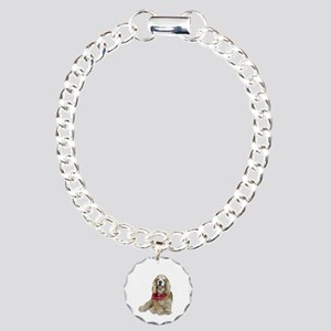 Cocker (buff-w/scarf) Charm Bracelet, One Charm