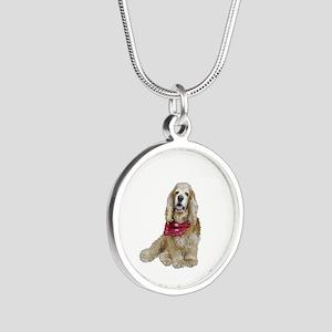 Cocker (buff-w/scarf) Silver Round Necklace