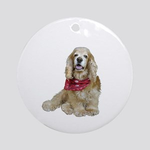 Cocker (buff-w/scarf) Ornament (Round)