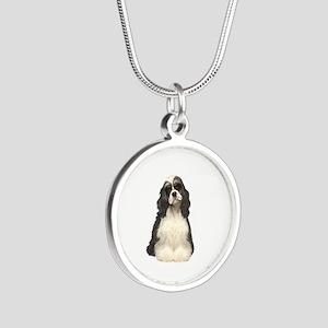 Cocker (parti) Silver Round Necklace