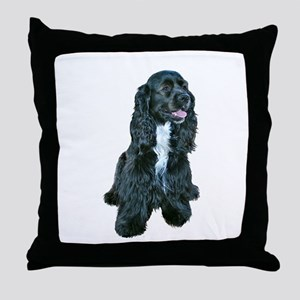 Cocker (black- white bib) Throw Pillow