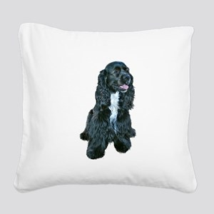 Cocker (black- white bib) Square Canvas Pillow