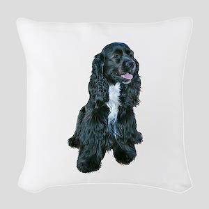 Cocker (black- white bib) Woven Throw Pillow