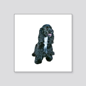 "Cocker (black- white bib) Square Sticker 3"" x 3"""