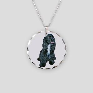 Cocker (black- white bib) Necklace Circle Charm