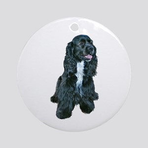 Cocker (black- white bib) Ornament (Round)