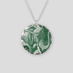 1971 Botswana Elephant Posta Necklace Circle Charm