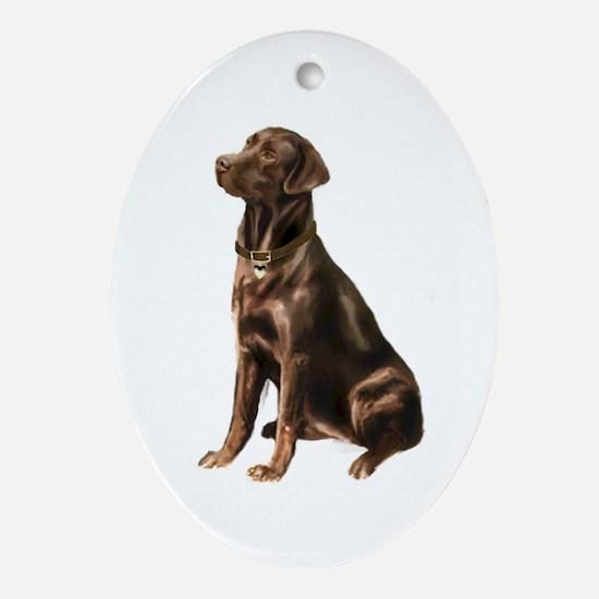 Chocolate Lab (#1) Ornament (Oval)
