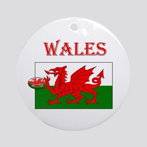 Wales Rugby Round Ornament
