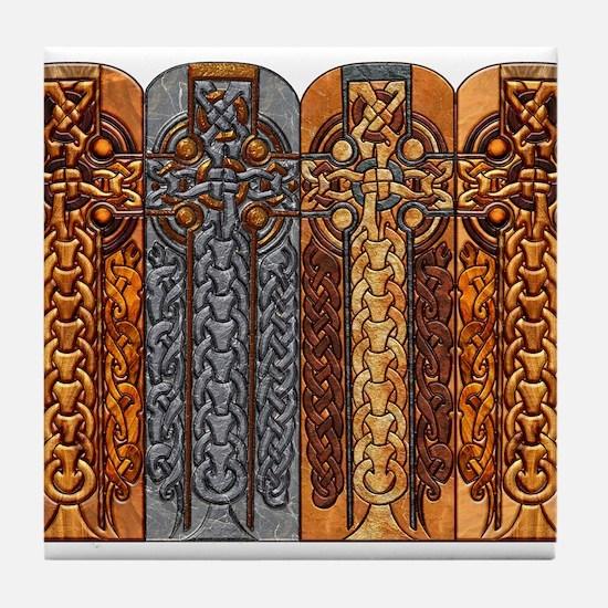 Harvest Moons Viking Crosses Tile Coaster