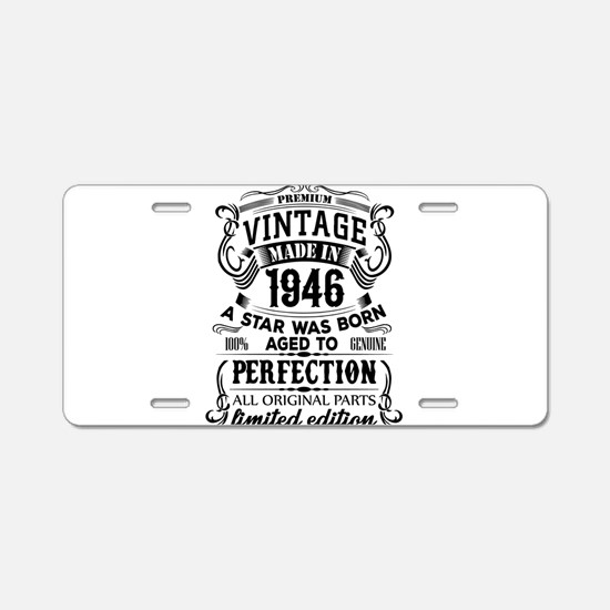 Vintage 1946 Aluminum License Plate