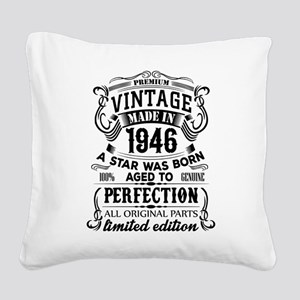 Vintage 1946 Square Canvas Pillow