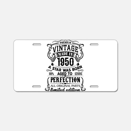 Vintage 1950 Aluminum License Plate