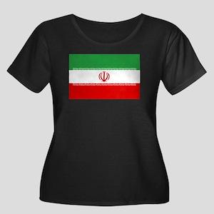 Iran Flag Women's Plus Size Scoop Neck Dark T-Shir
