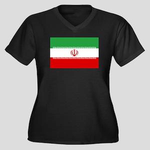 Iran Flag Women's Plus Size V-Neck Dark T-Shirt
