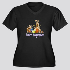 Knit together II Women's Plus Size V-Neck Dark T-S