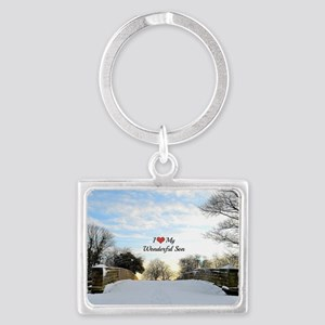 I Love My Wonderful Son Landscape Keychain