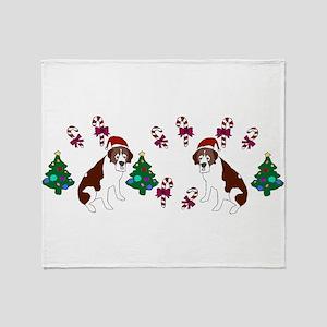 Christmas Saint Bernard Throw Blanket